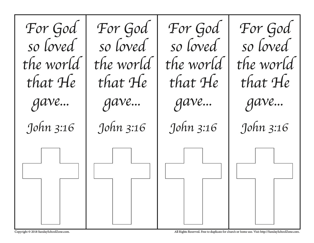 Colorable John 3 16 Bookmarks On Sunday School Zone