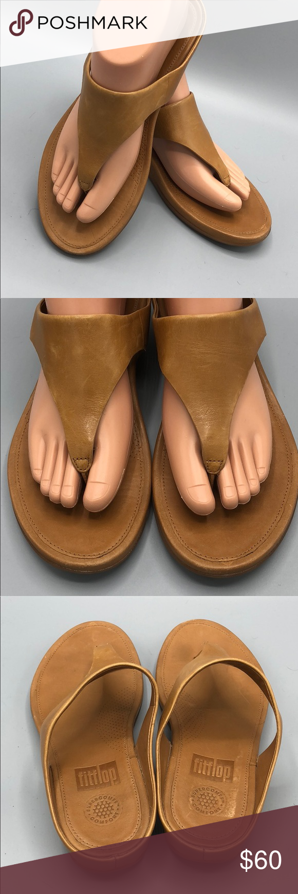 f1f427153cd8ec FitFlop Banda Tan Leather Thong Sandal Size 7 NICE Near new! This is the  crazy