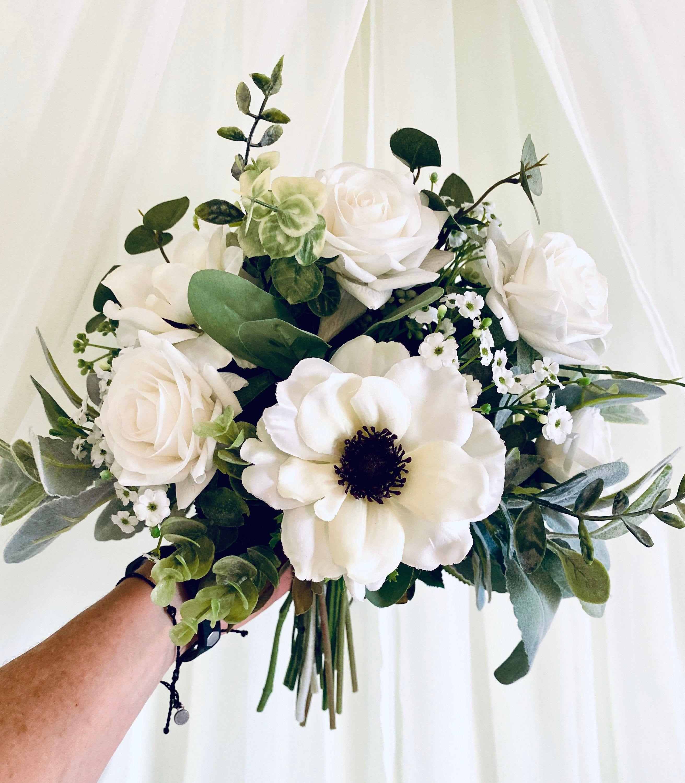 Boho white bridal bouquet rose wedding bouquet silk flower