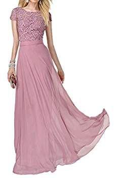 charmant damen wunderschoen rosa kurzarm spitze abendkleider brautjungfernkleider abiballkleider