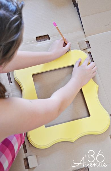 these fun frames are made from cardboard boxes use them to decorate a