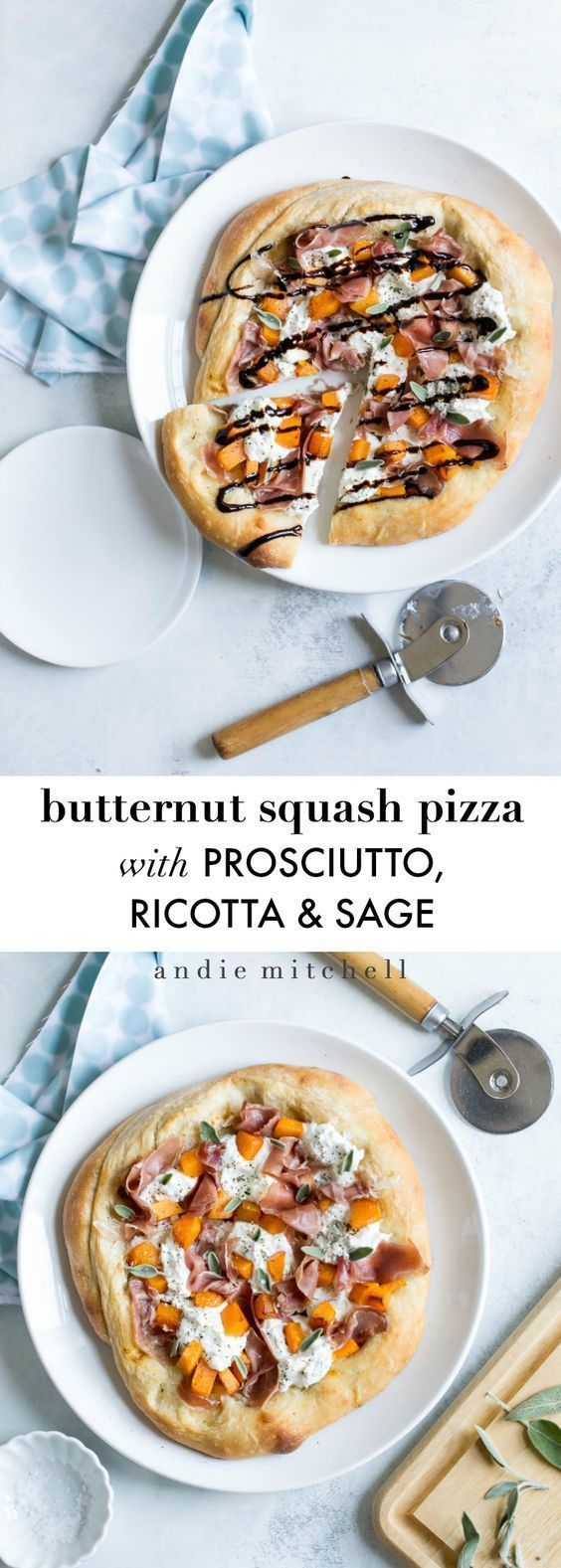 Butternut Squash Pizza with Prosciutto, Herbed Ricotta and Sage