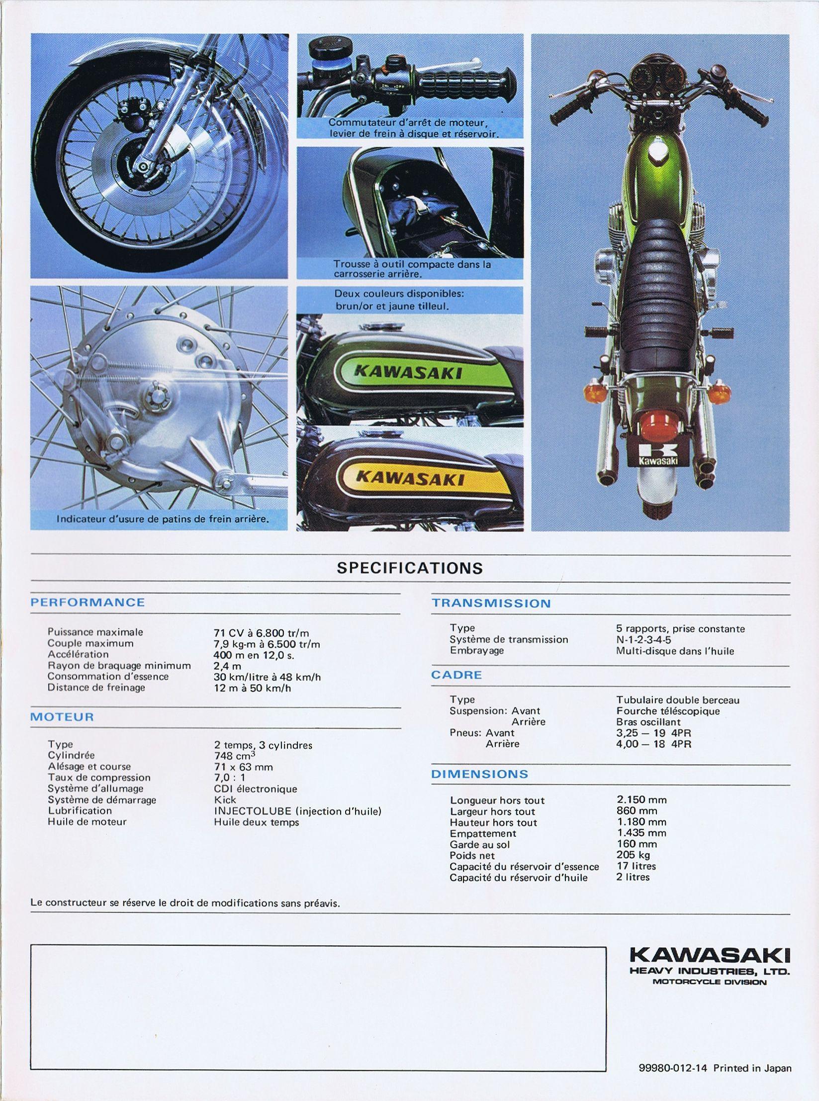 1974 Kawasaki 750 Mach Iv H2 2 Stroke Brochure France 06 Motorrad Beschleunigung Motor