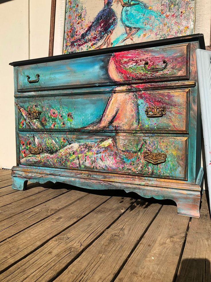 Handbemalte Meerjungfrau Kommode | Etsy - UPCYCLING IDEEN #furnitureredos