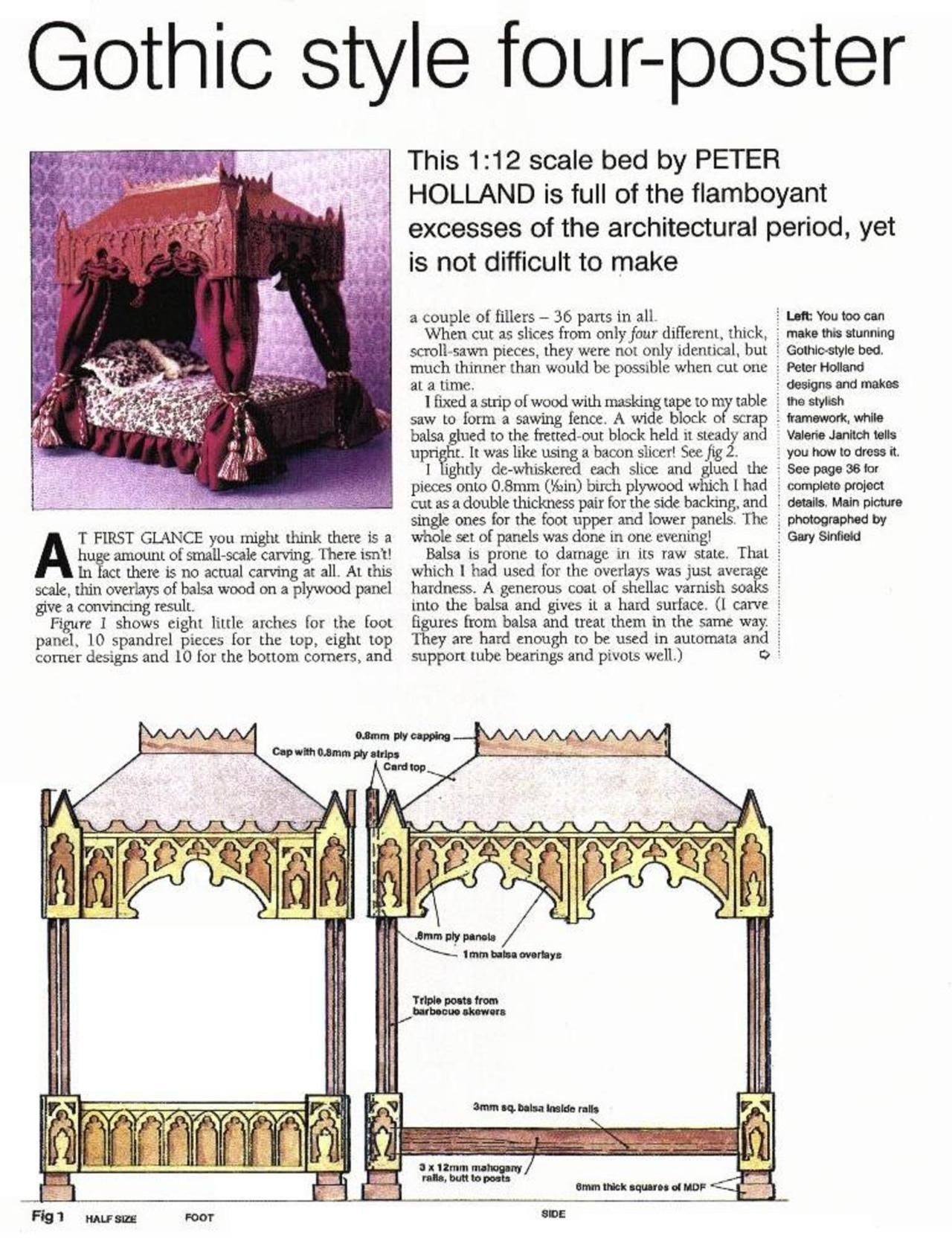 Stitchit Instructions And Pattern For A Gothic Diy Barbie Furniture Doll Furniture Gothic Bed