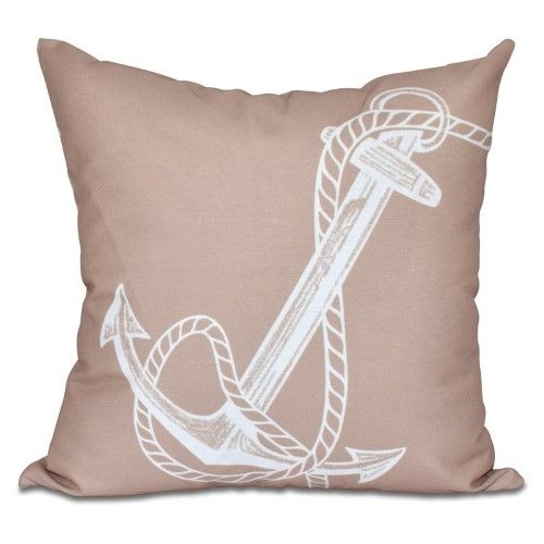 E by Design Nautical Nights Anchored Decorative Pillow, Brown