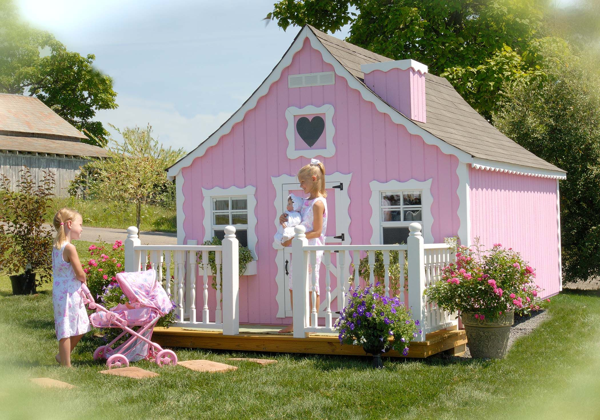cream pink green painted playhouse paint my playhouse