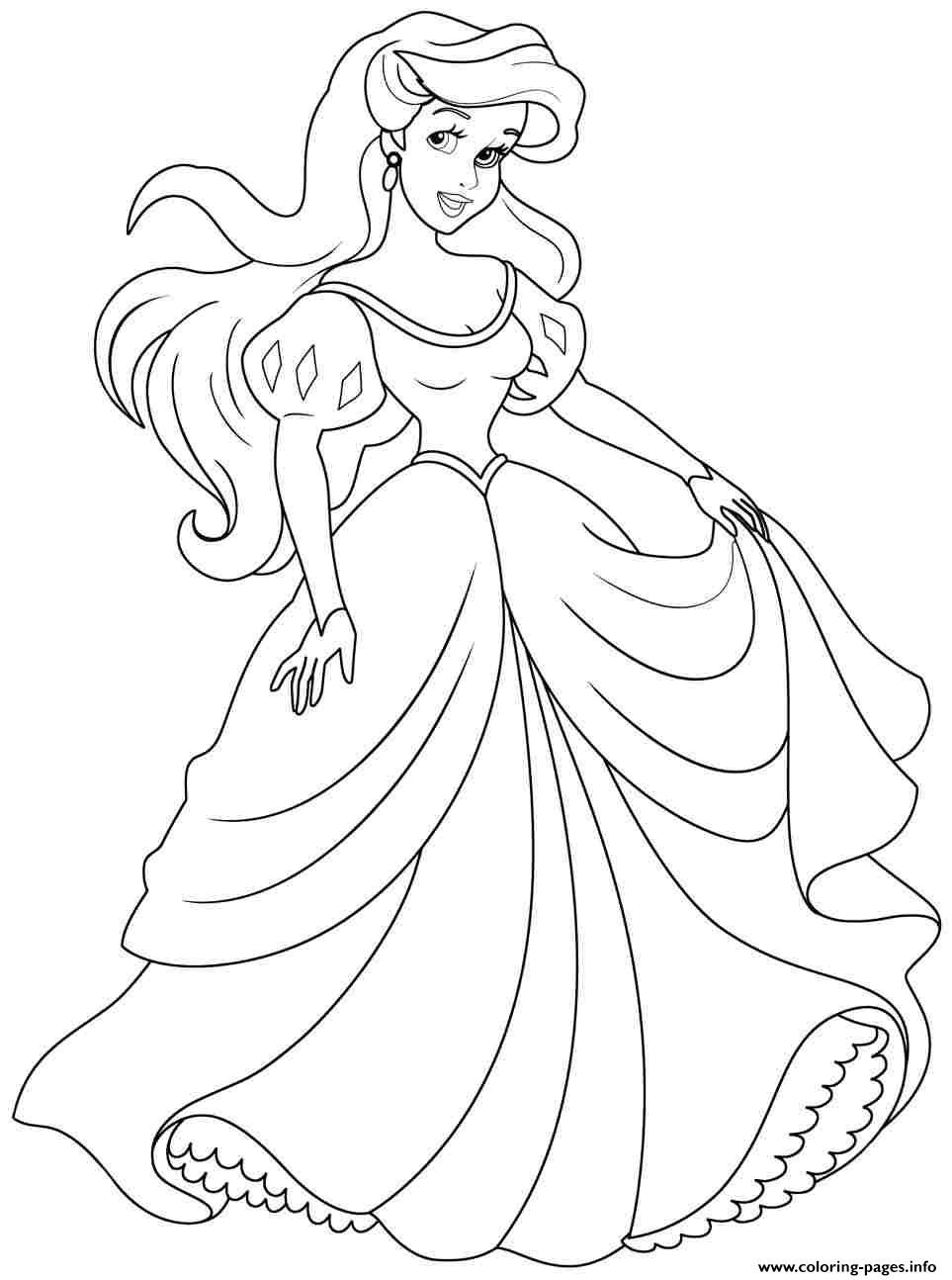Print Princess Ariel Human Coloring Pages Disney Princess
