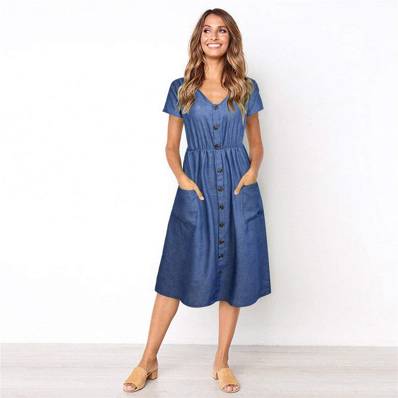 Zooyaa V Neck Button Down Swing Midi Denim Dress Womens Midi Dresses Midi Dress Casual Fall Dress Outfit [ 1500 x 1500 Pixel ]