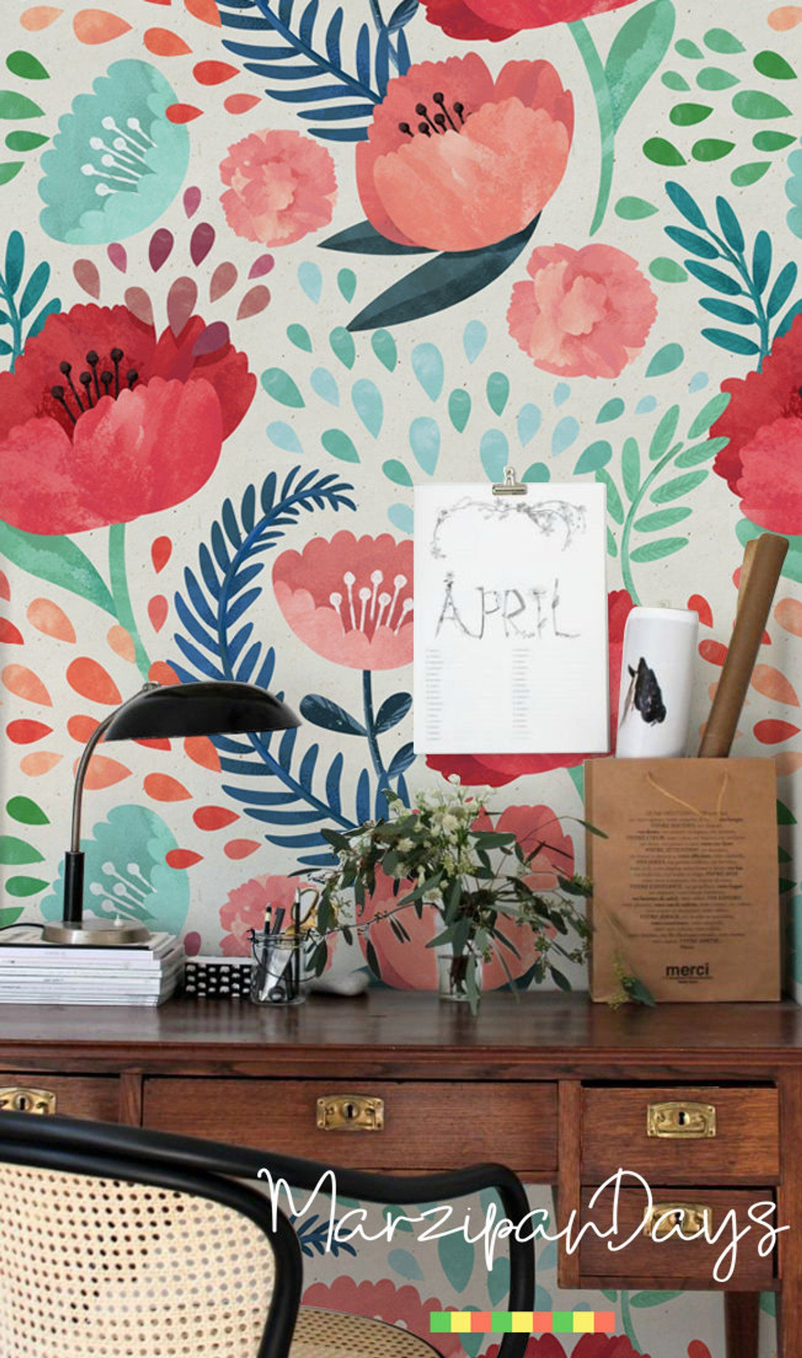 Poppy Wallpaper Poppies Wall Mural Vintage Floral Etsy Poppy Wallpaper Wallpaper Accent Wall Wall Murals
