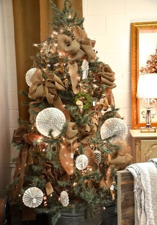 Christmas trees decorated with burlap  Holiday ideas  Pinterest