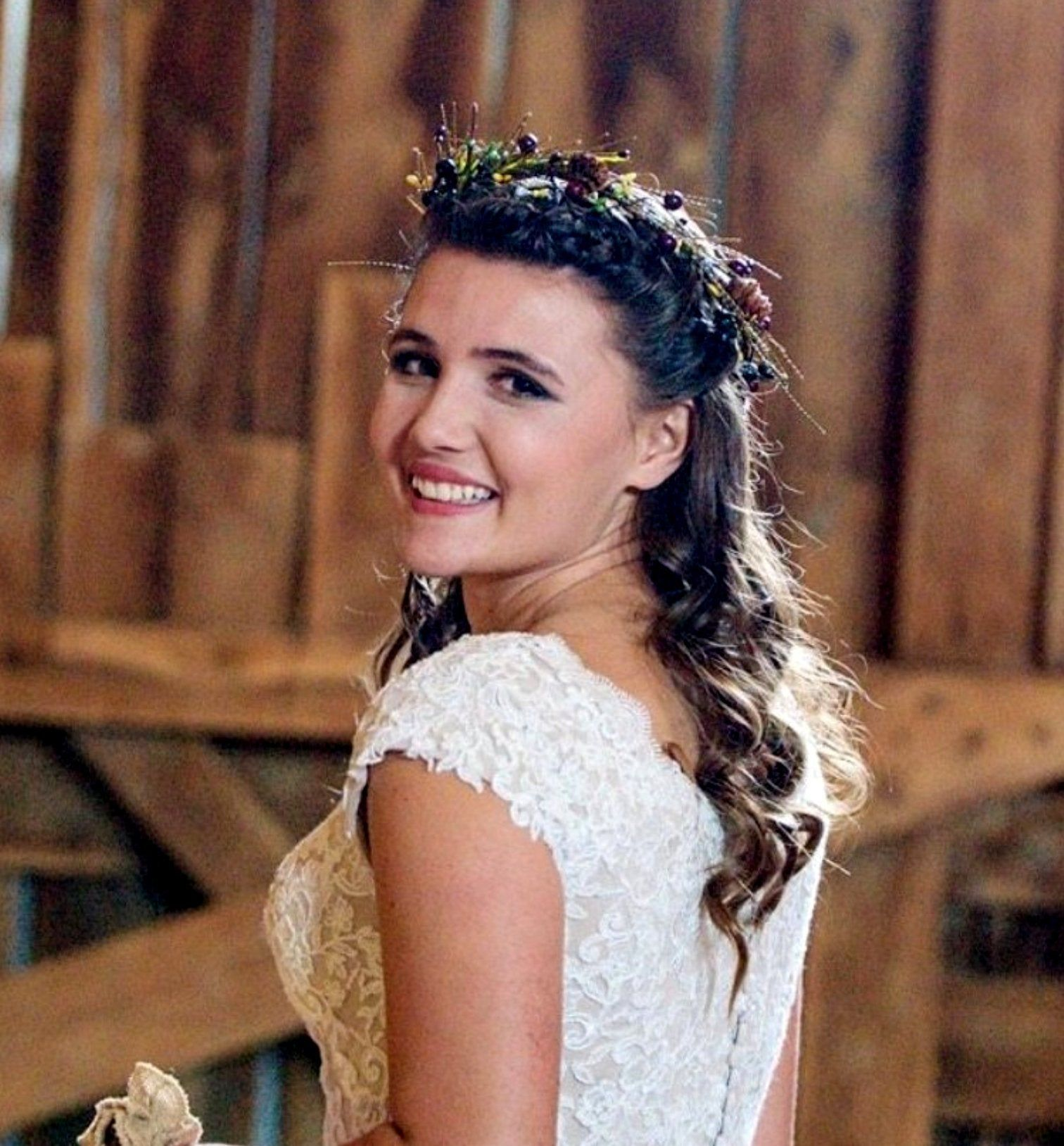 Fall Wedding Hairstyles With Flower Crown: Fall Brown Flower Crown Ivory Rustic Bridal Headpiece