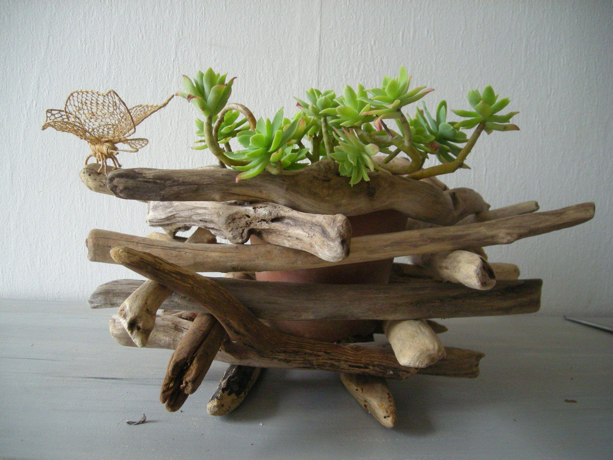 Un cache pot en bois flott bois flott pinterest for Objet en bois flotte