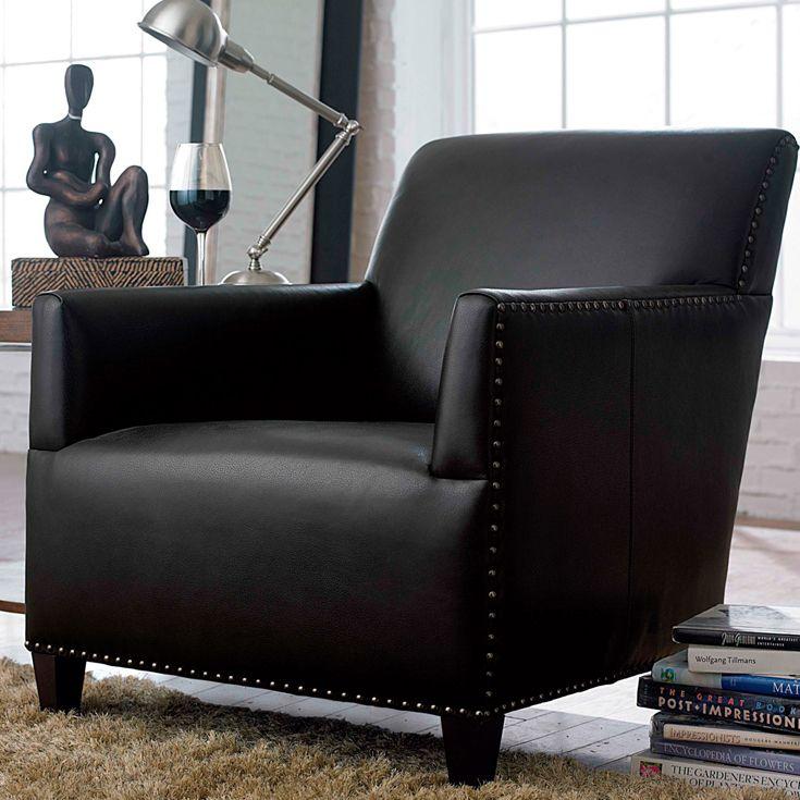 Best Bernhardt Sanford Chair In Black Leather Upholstered 640 x 480