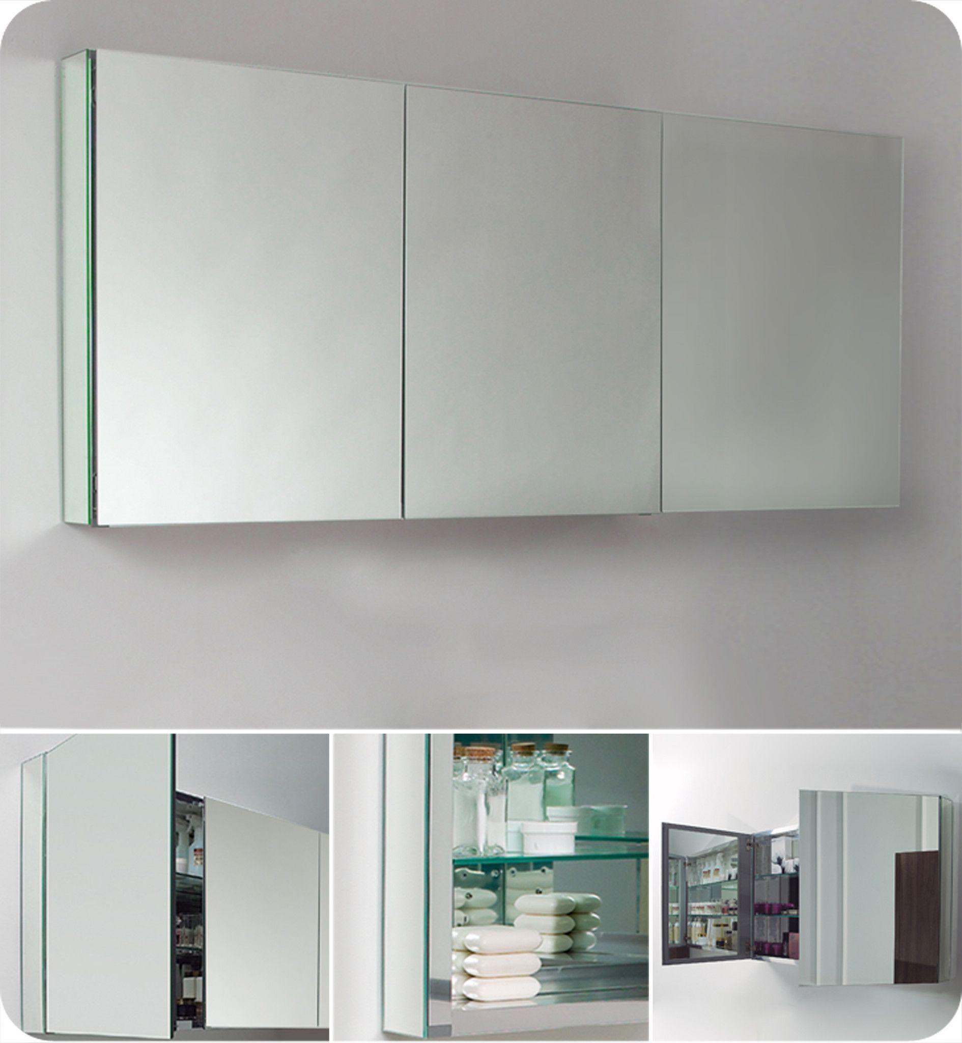 Fresca 60 Wide Bathroom Medicine Cabinet W Mirrors With Images Bathroom Medicine Cabinet Mirror Medicine Cabinet Mirror Recessed Medicine Cabinet