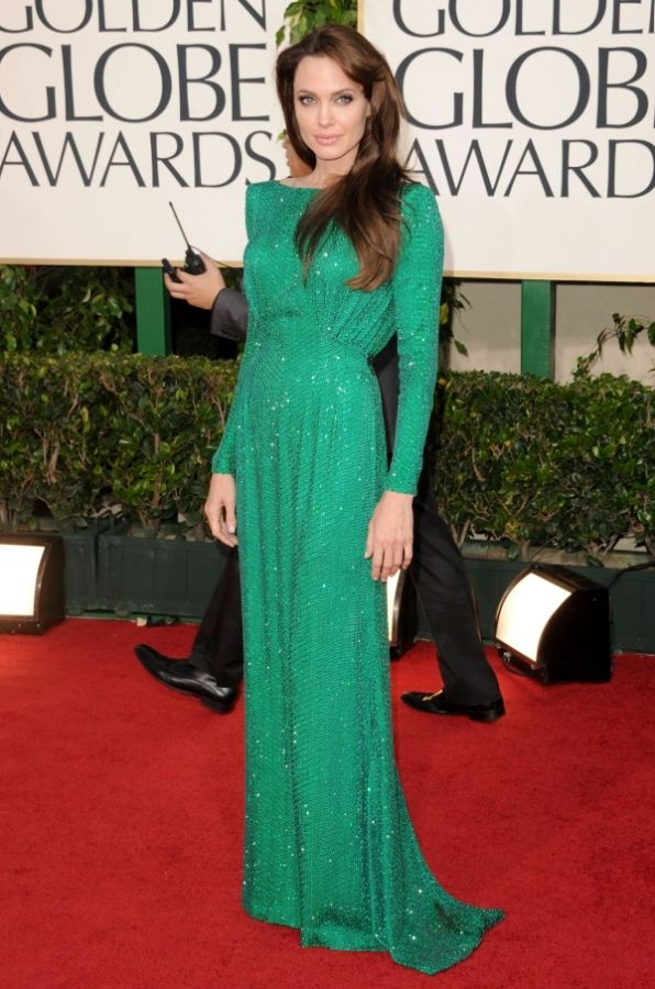 89936d3356 Angelina Jolie in emerald green Atelier Versace dress | Katherine's ...