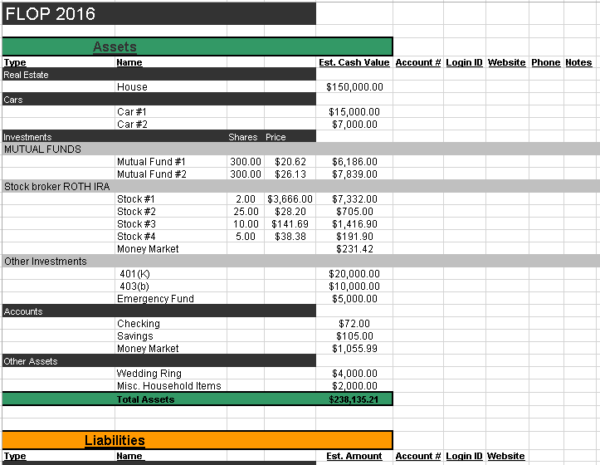 free spreadsheet to get your financial life on one page for 2018