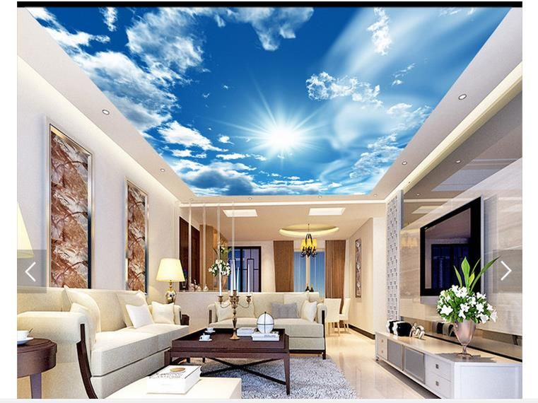 3d Photo Wallpaper Custom 3d Ceiling Wallpaper Murals Blue Sky White Clouds The Sun Setting Wall Mural 3d Sitting Room Wallpaper Ceiling Murals Mural Wallpaper