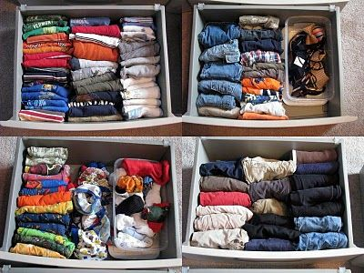 Fold clothes and file into drawers instead of stacking! Makes more room and you never have to throw all of the clothes out of the drawer to find a certain shirt on the bottom!