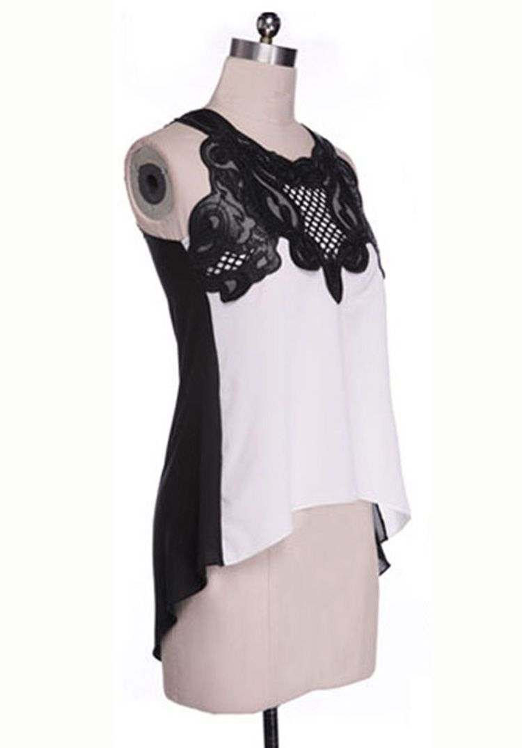 Hot-Sale Sleeveless Asymmetrical Chiffon Blouse - Lalalilo.com Shopping - The Best Deals on Blouses
