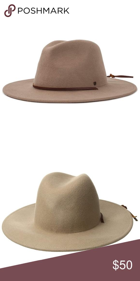 "22719aa8e Brixton field hat Taupe/beige ""fawn"" color felt wide brim hat Size ..."