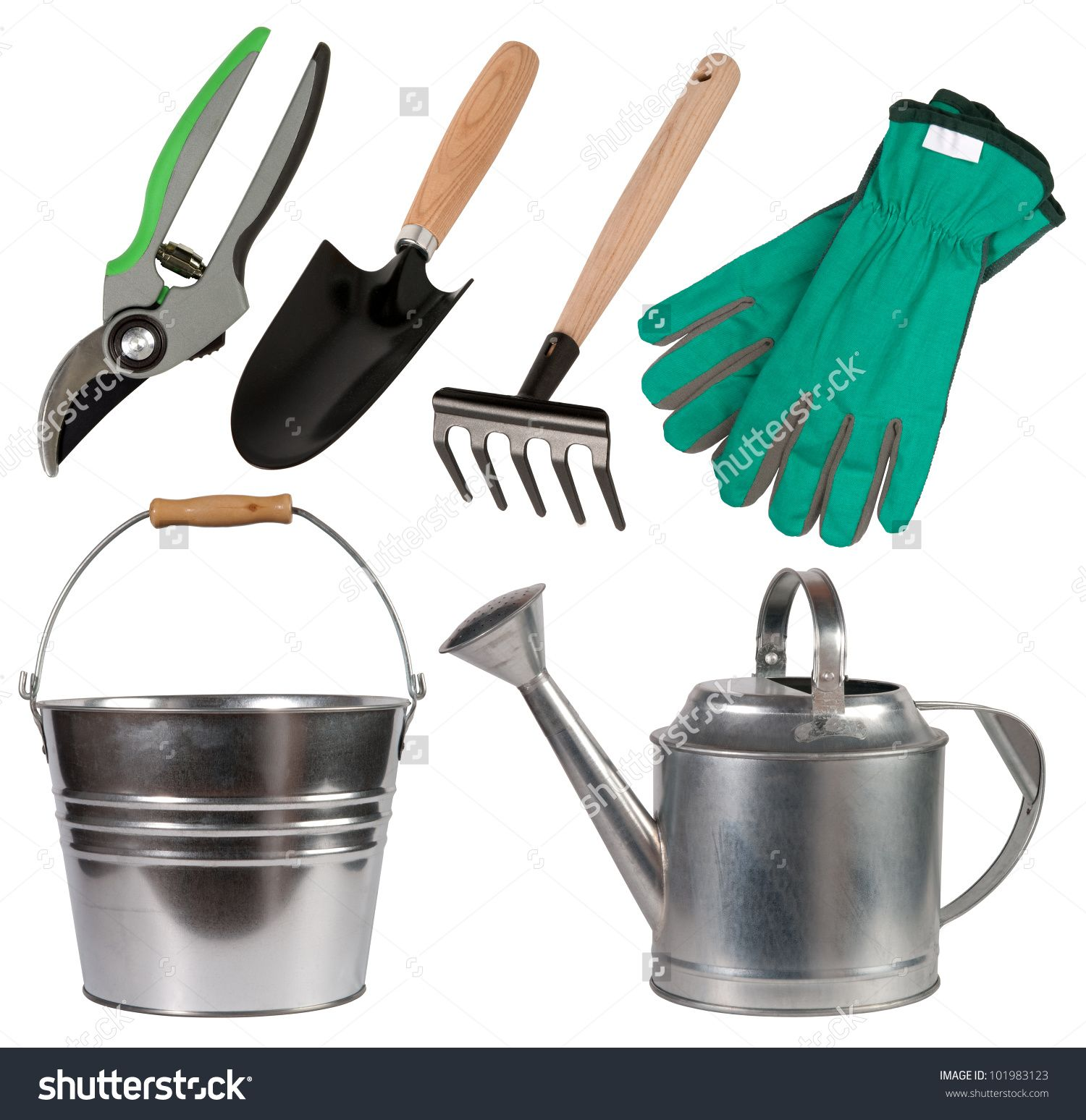stock photo gardening tools isolated on white background