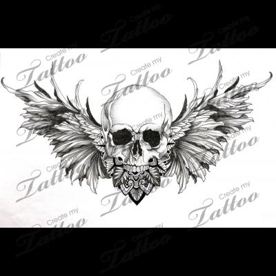 Winged Skull Chest Piece Tattoos Indian Skull Tattoos Skulls Drawing