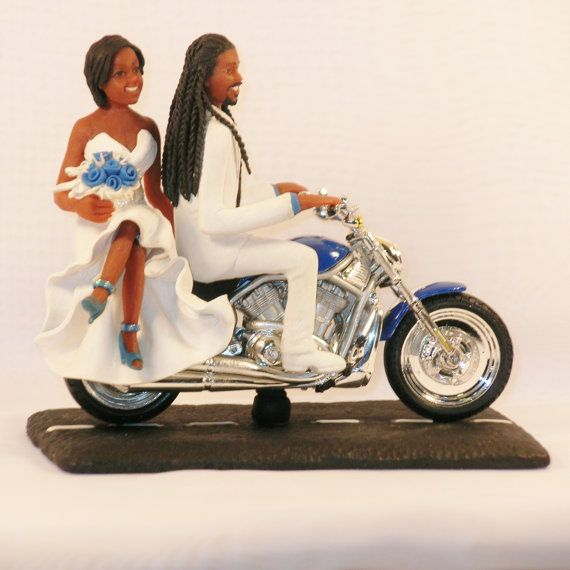 Items Similar To Motorcycle With African American Couple Groom Dreads Wedding Cake Topper On Etsy