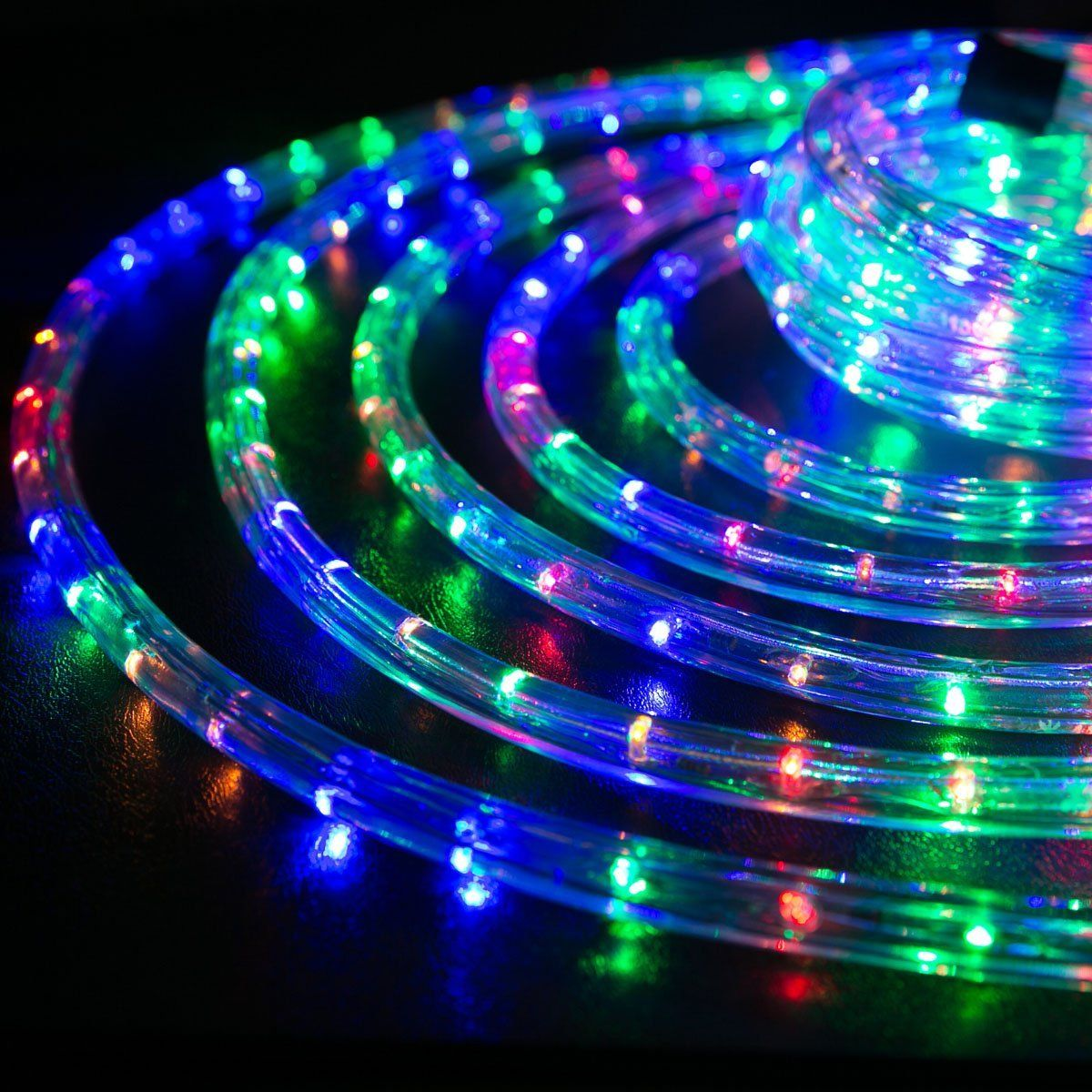Wyzworks 100 Feet 1 2 Thick Multi Color Rgb Pre Assembled Led Rope Lights With 10 25 50 150 Option Chr Led Rope Lights Led Rope Christmas Rope Lights