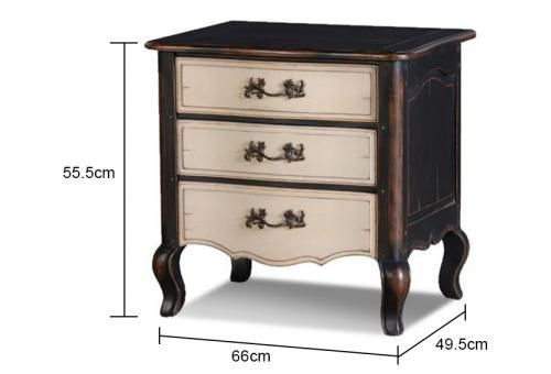 Black And Cream French Bedside Table