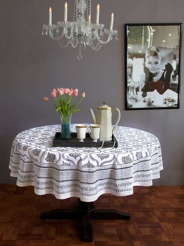 Black White Vintage Hollywood Glamour ROUND TABLECLOTH: Use Our Colorful  Cotton Tablecloths To Set The
