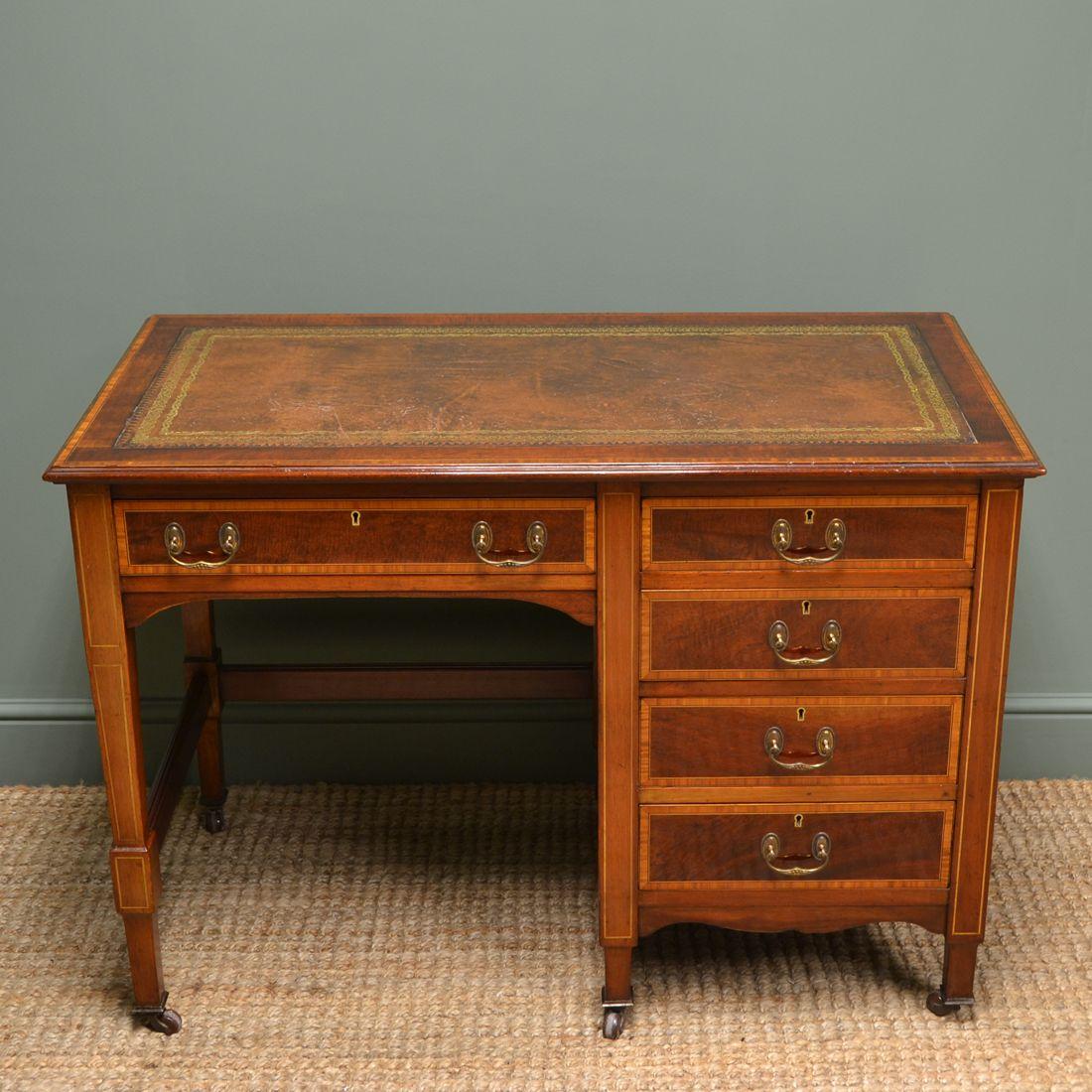 Inlaid Edwardian Mahogany Antique Desk By Jas Shoolbred Antique Desk Desk Fine Antique Furniture