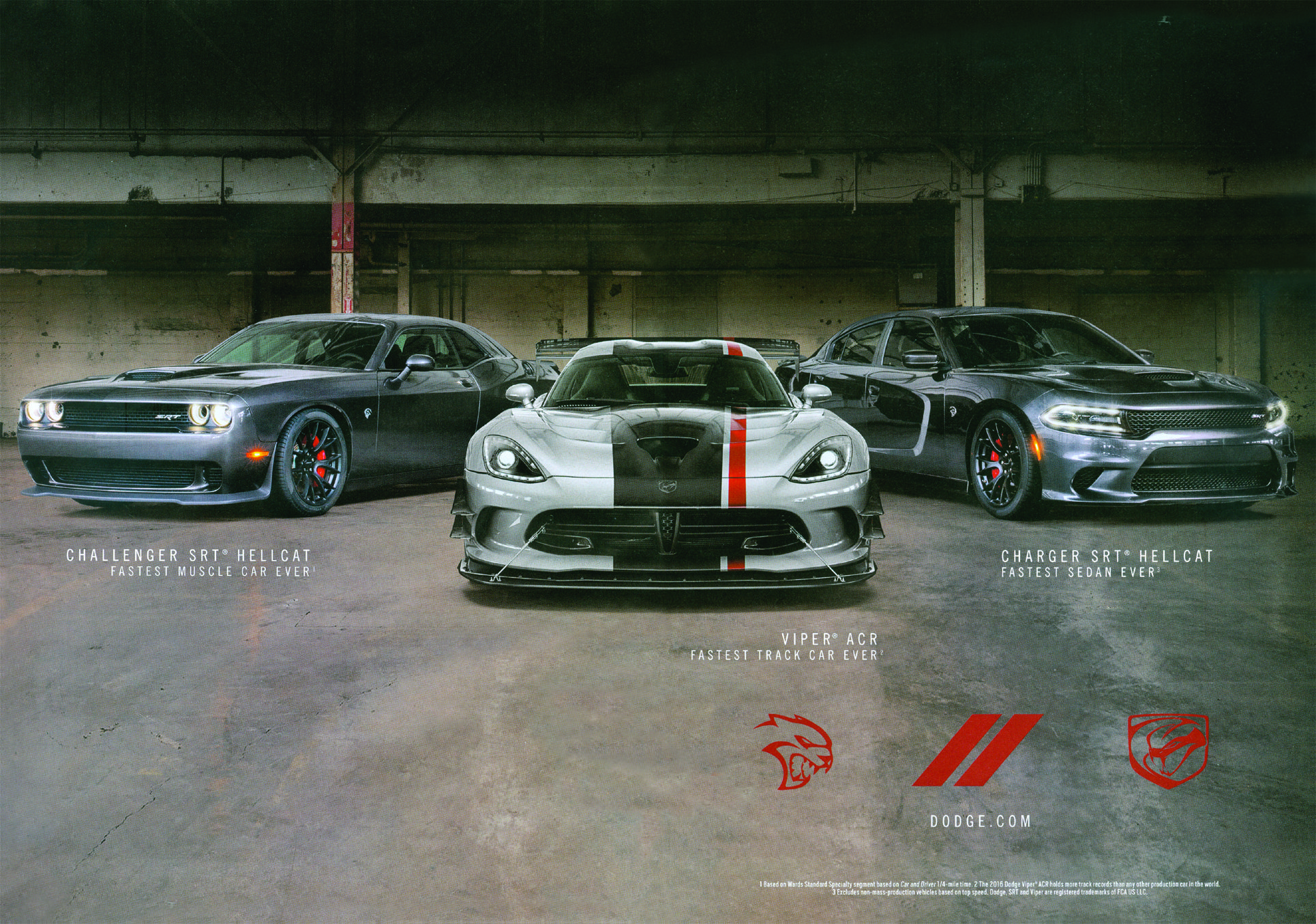 Dodge Challenger Hellcat Viper Charger Hellcat 2016 Print Ad