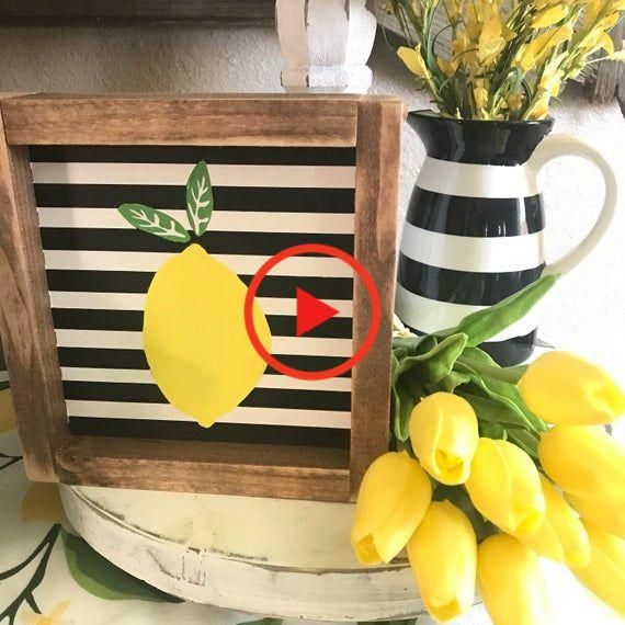 """Stripes & lemons make me happy. This is a bright & happy sign for your kitchen.It's about 7""""x7""""All wood & paintChoose from the black & white stripes or the bahama blue & white stripes Let me know what color you'd like when checking out :) If you don't let me know By default you'll receive the black & white stripes #homedecor"""
