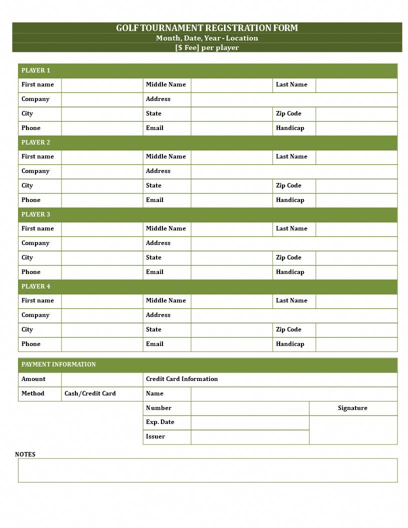Golf Registration Form Template