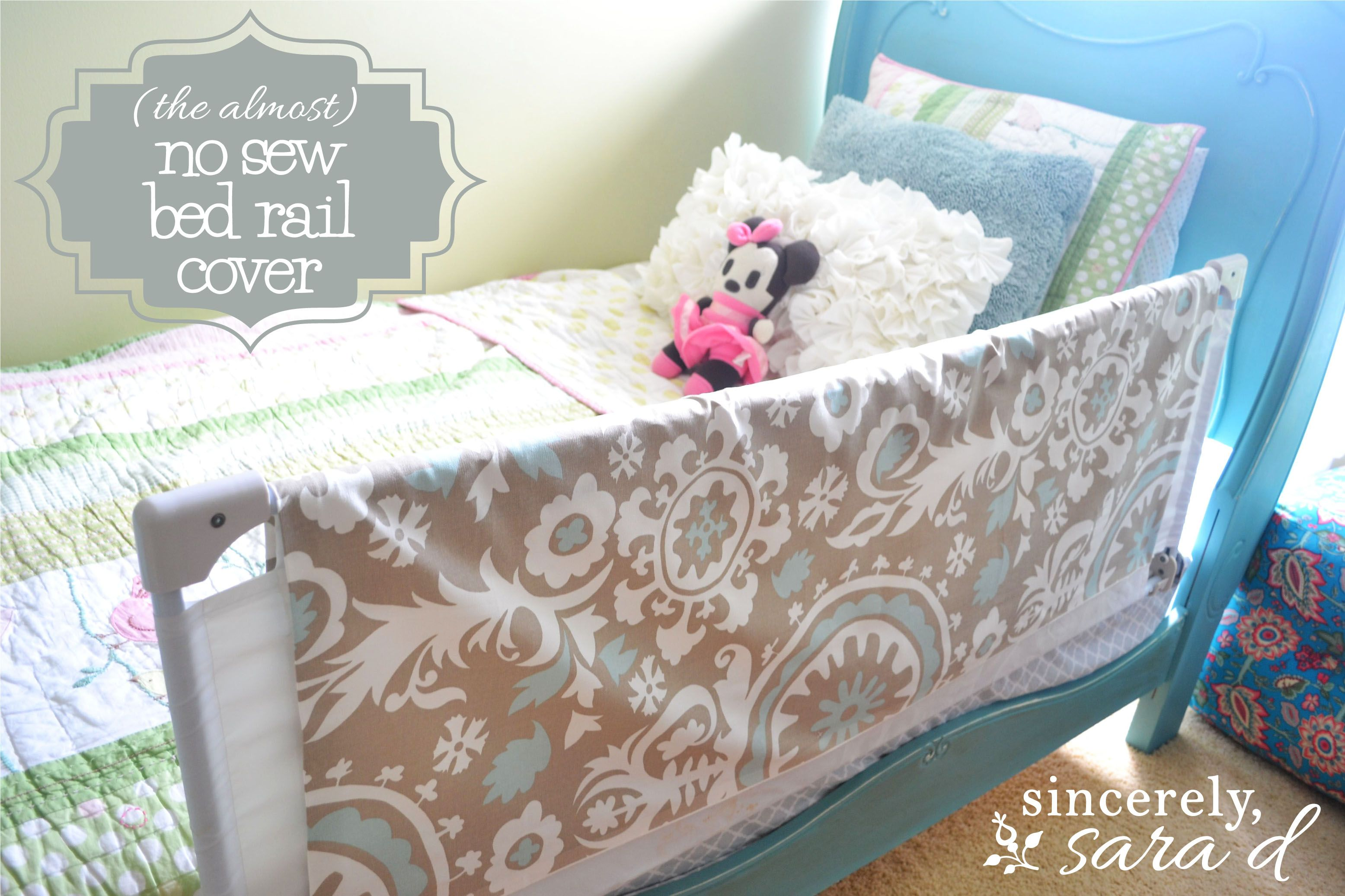 (the almost) no sew bed rail cover Diy toddler bed, Kids