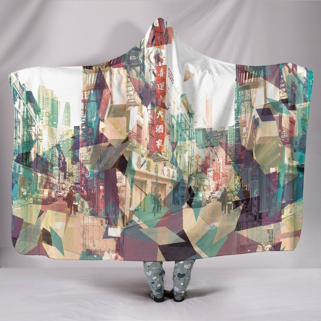 Photo of China Town NY – Hooded Blanket – China Town / Adult 80×60