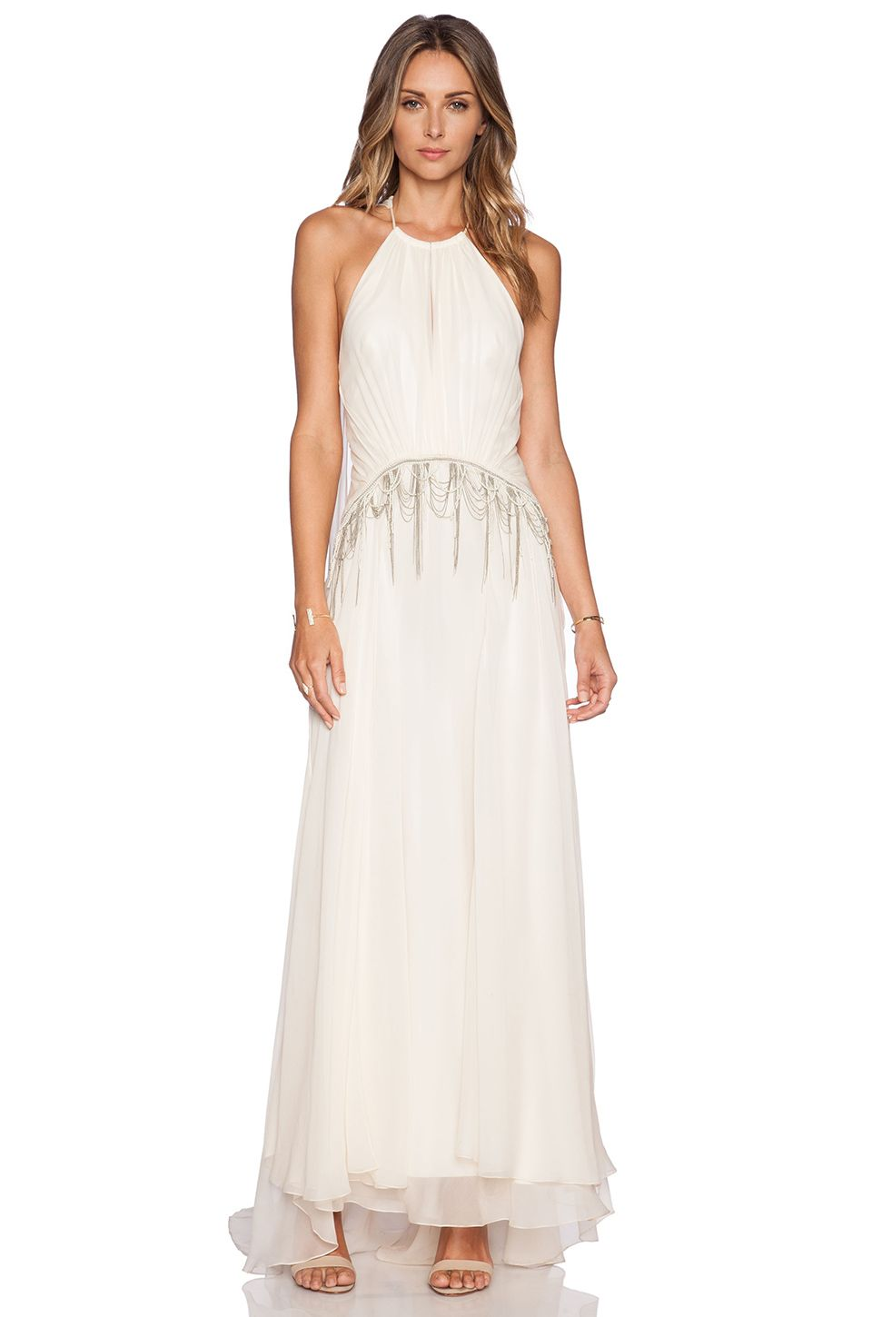 Haute Hippie Gathered Embellished Gown in Antique Ivoire | My style ...