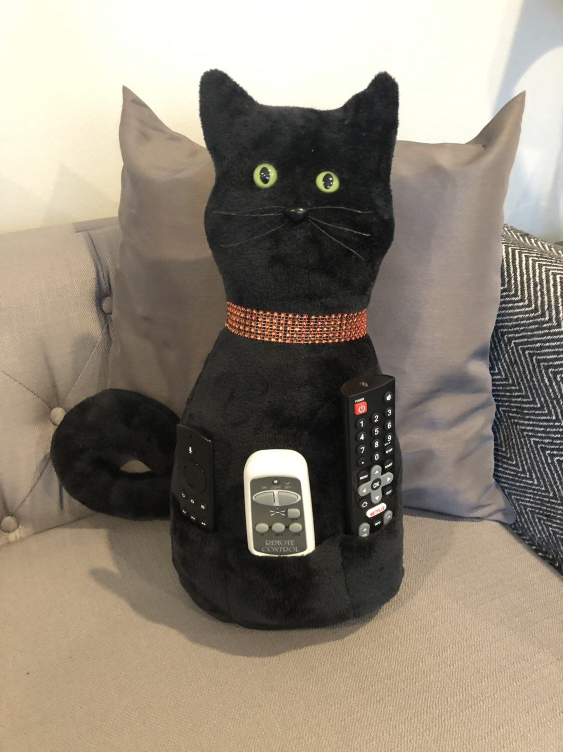 Handmade Black Cat Pillow with pouches to hold remotes