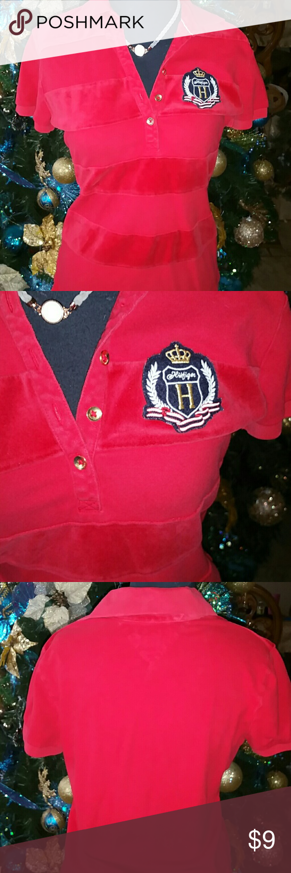 🌺Tommy Hilfiger Red Polo Top Velvet stripe Size Medium.  30% off bundles..  Prices are not set in stone ☄️ Tommy Hilfiger Tops