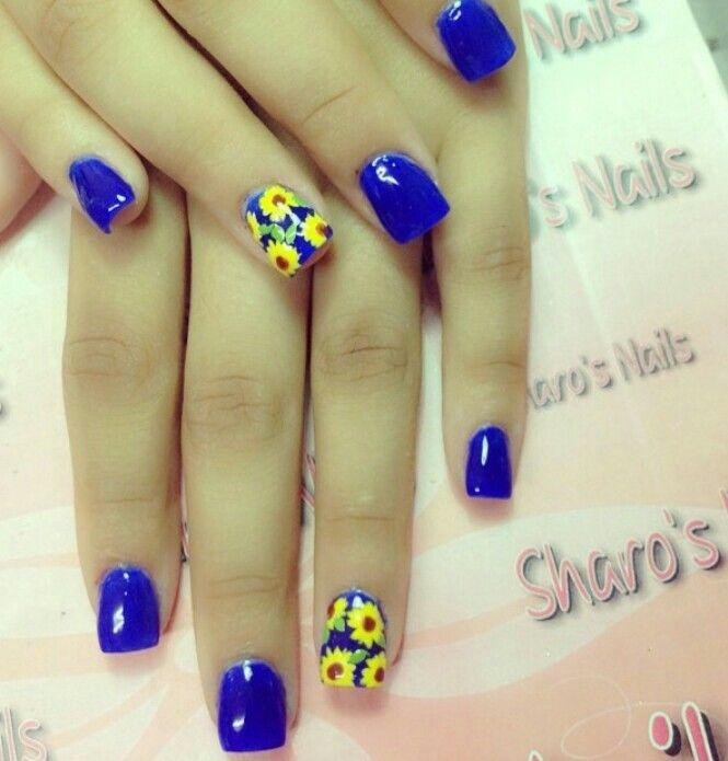 Cobalt Blue, Sunflower Nail Art | Nails | Pinterest | Me encantas ...