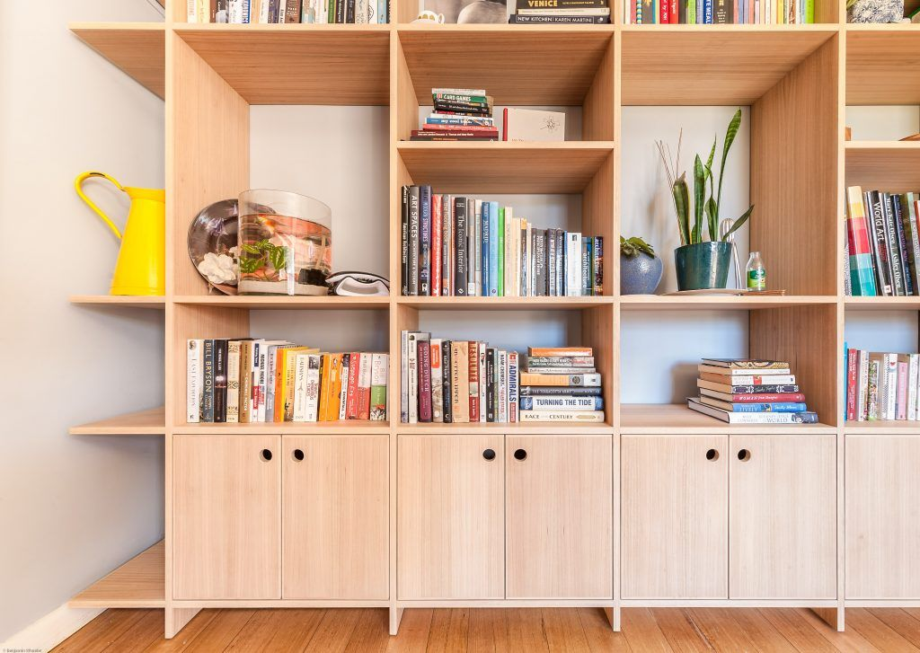 Study Bookcase 18mm Tasmanian Oak Veneered Plywood Hardwood Edging Floating Shelving Built In