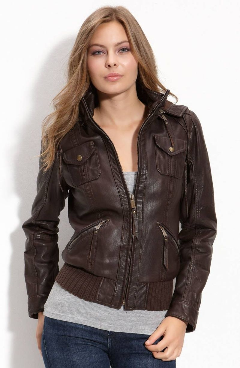 Classic Womens Bomber Jacket Leather bomber jacket