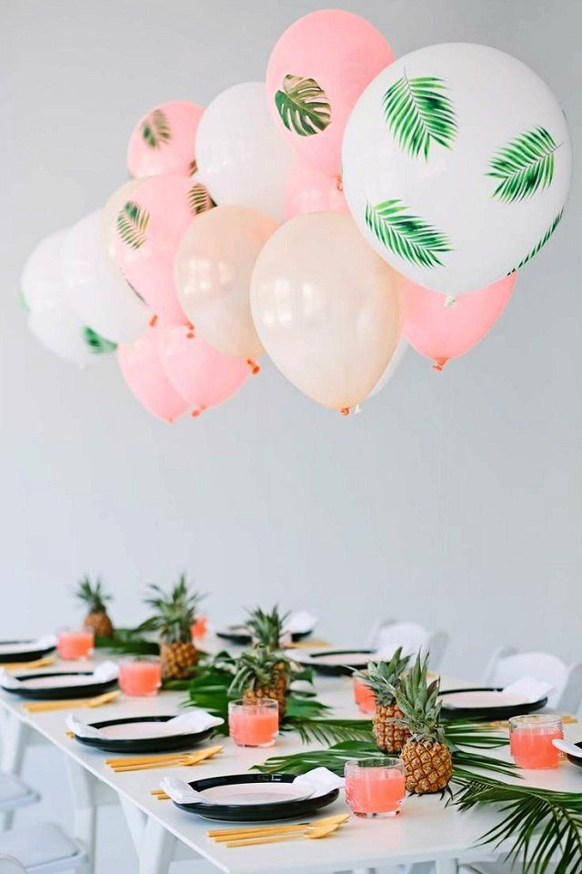 Tropical themed palm tree party | pool ideas | Pinterest