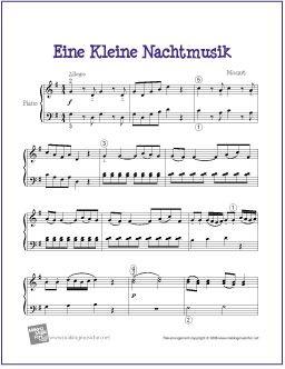 Eine Kleine Nachtmusik (Mozart) | Free Sheet Music for Easy Piano ...