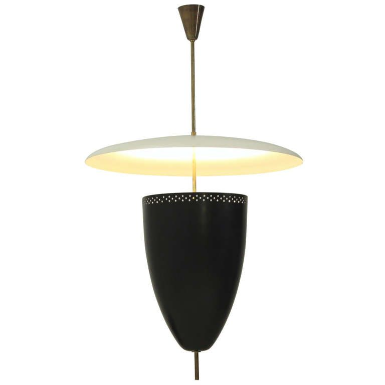 Extra Large Italian 1950s Bullet Shaped Pendant In Black And Off White
