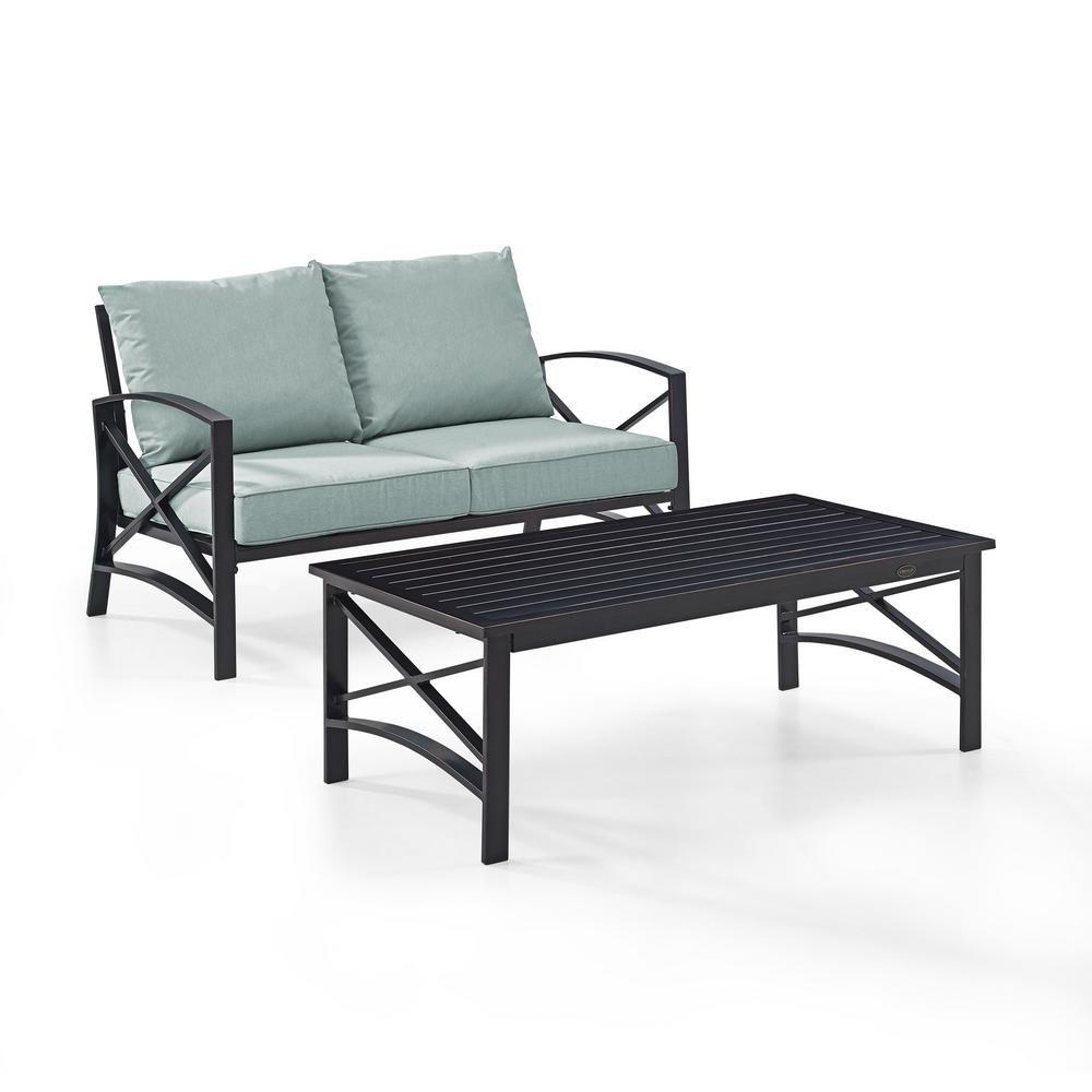 Crosley Furniture Kaplan 2 Piece Metal Patio Outdoor Seating Set