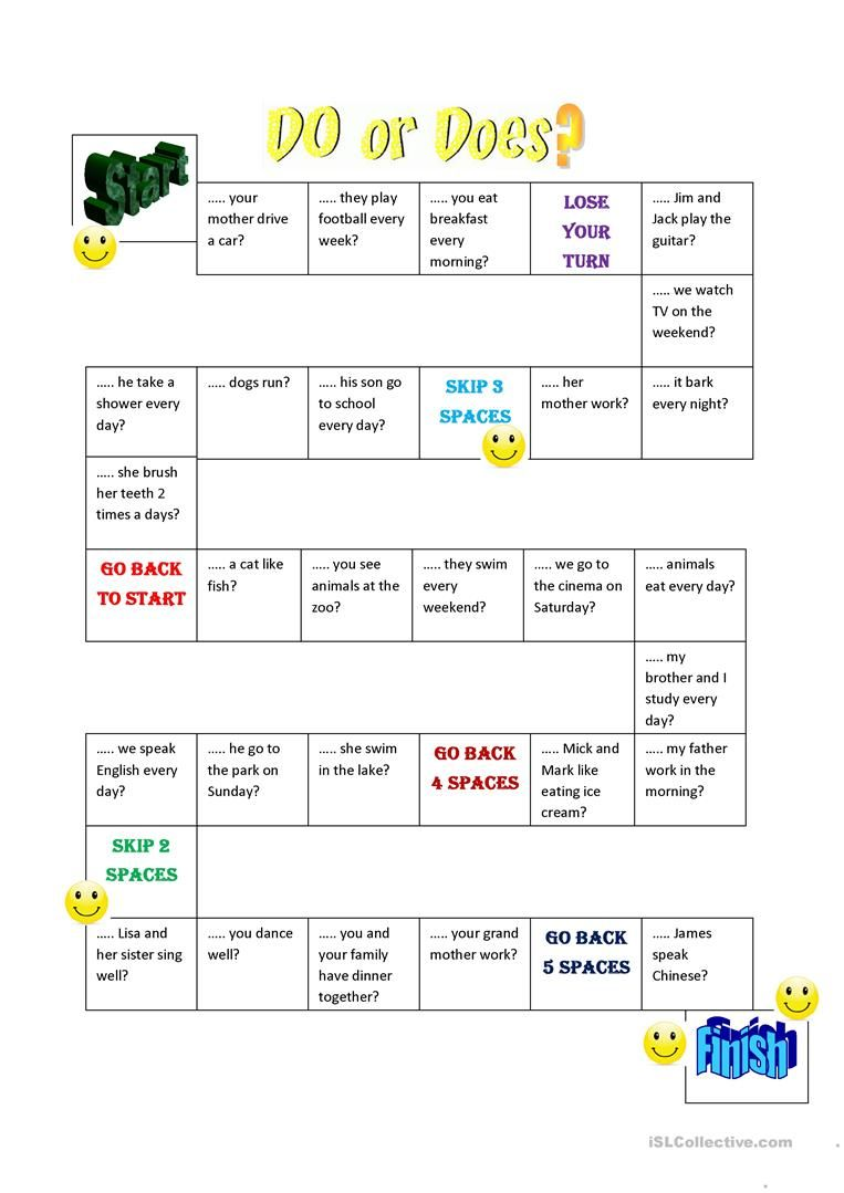 Do Does Question Board Game Worksheet Free Esl Printable Worksheets Made By Teachers Grammar Games English Games Teaching English [ 1079 x 763 Pixel ]