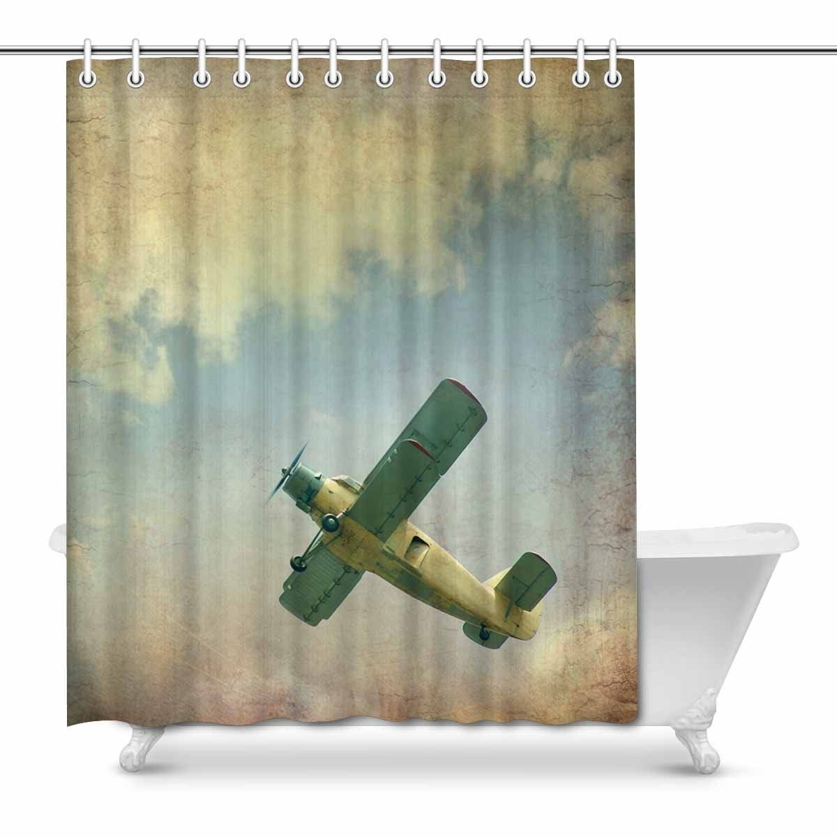 Cool Vintage Airplane House Decor Shower Curtain For Bathroom Decorative In 2020 Fabric Shower Curtains Vintage Airplane Decor Airplane Decor