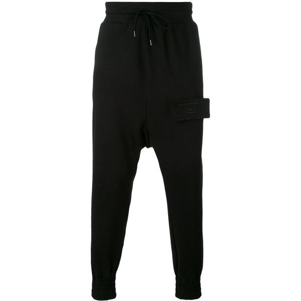 Odeur drop crotch sweatpants ($138) ❤ liked on Polyvore featuring activewear, activewear pants, black, cotton sweat pants, odeur, cotton sweatpants and sweat pants
